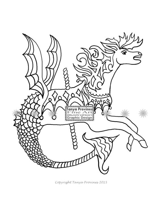 Carousel Merhorse Adult Coloring Page from TanyaProvines