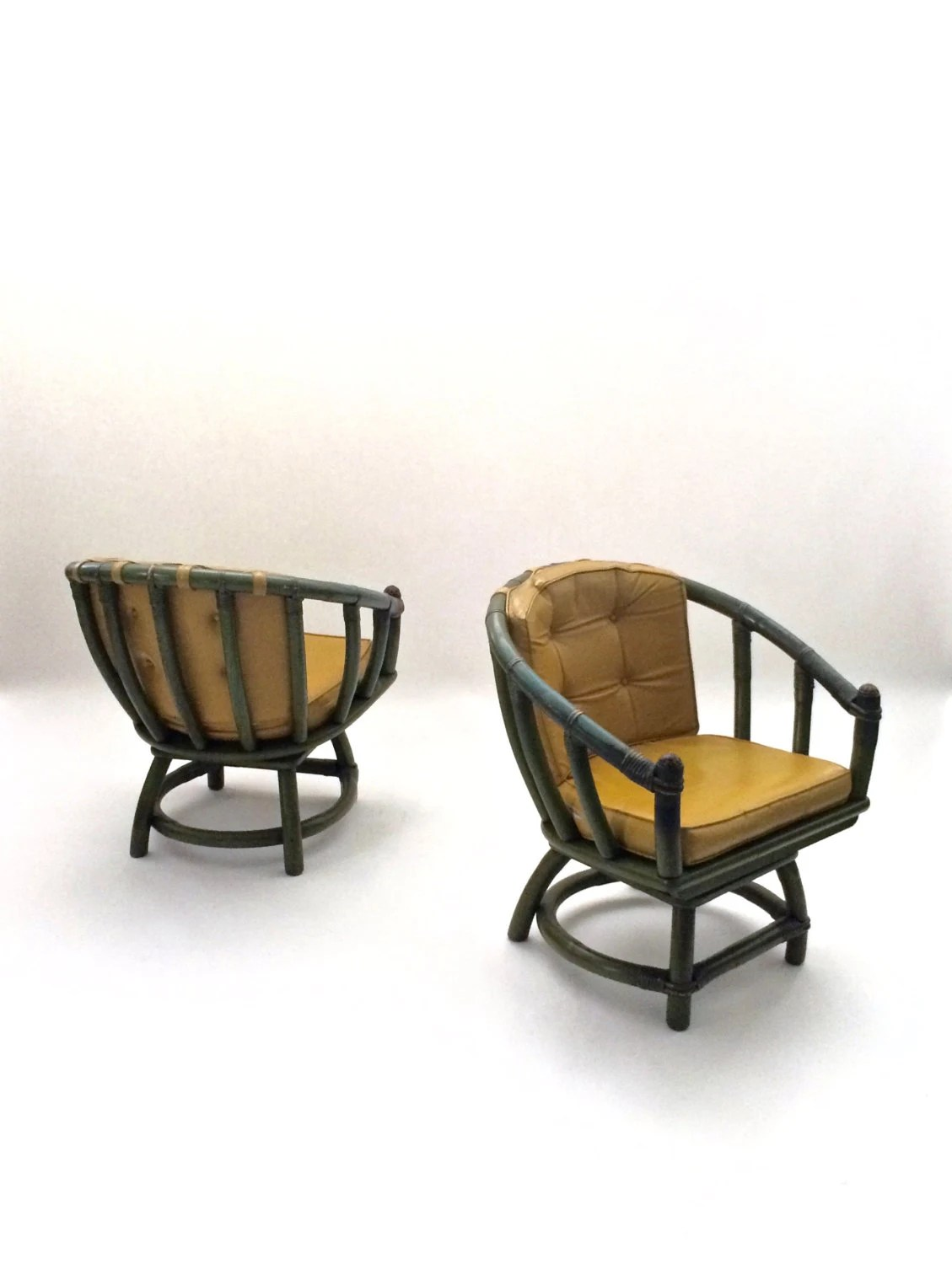 ficks reed chair gold glitter covers pair vintage rattan bamboo swivel armchairs