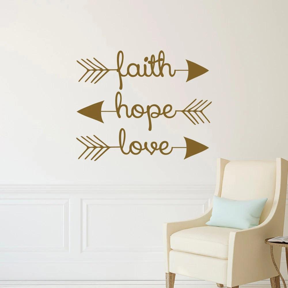 Faith Hope Love Wall Decal Arrow Wall Decal Arrow Wall