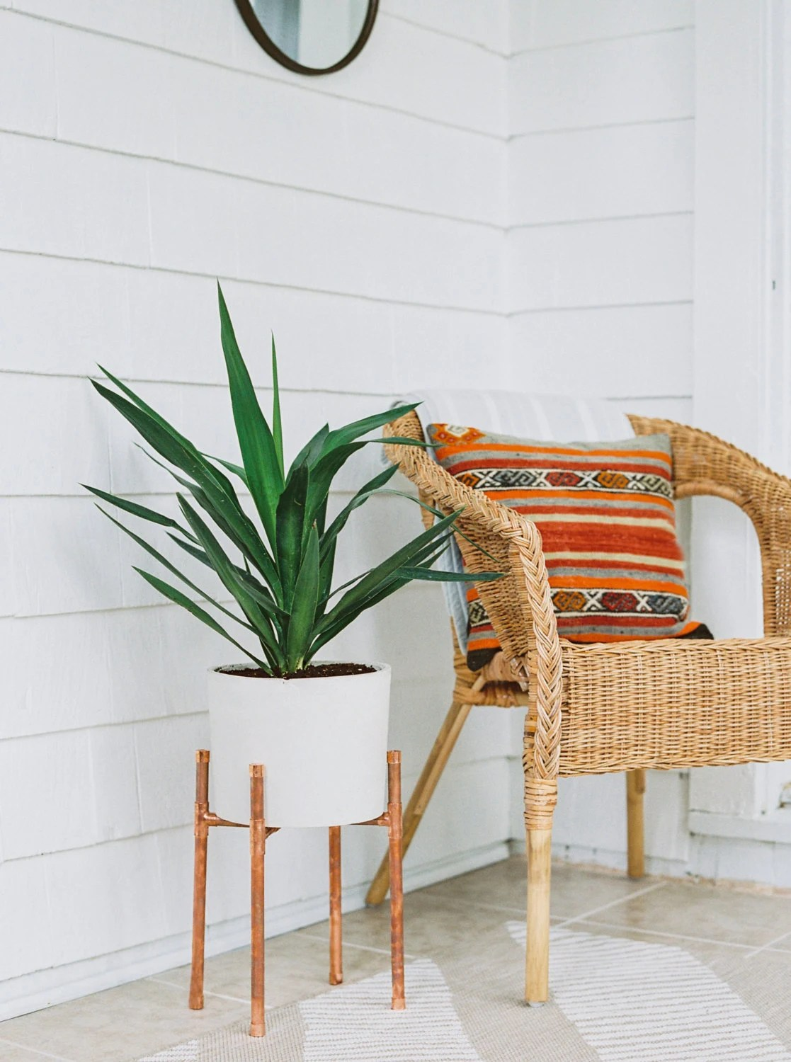 chair planter stand decorative covers copper and concrete modern plant