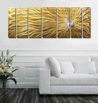 Gold Multi Panel Metal Wall Art Large Indoor Outdoor