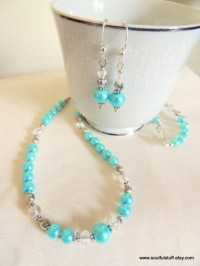 Pearl Jewelry Set Turquoise and Crystal Wedding Jewelry