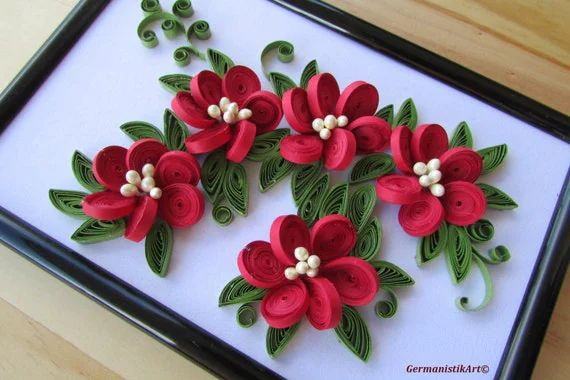 paper quilling flower decorations