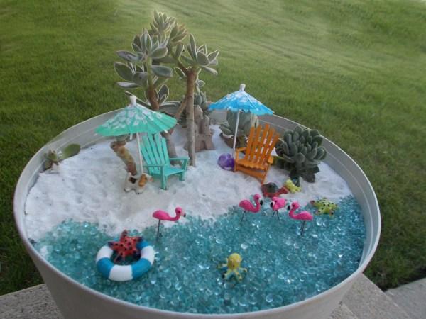 set of 4 miniature garden beach