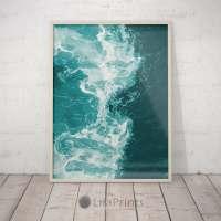 Teal Blue Water Beach Decor Ocean Wave Art Print Printable