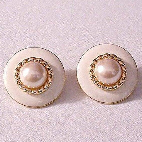 Monet Beige Pearl Clip On Earrings Gold by