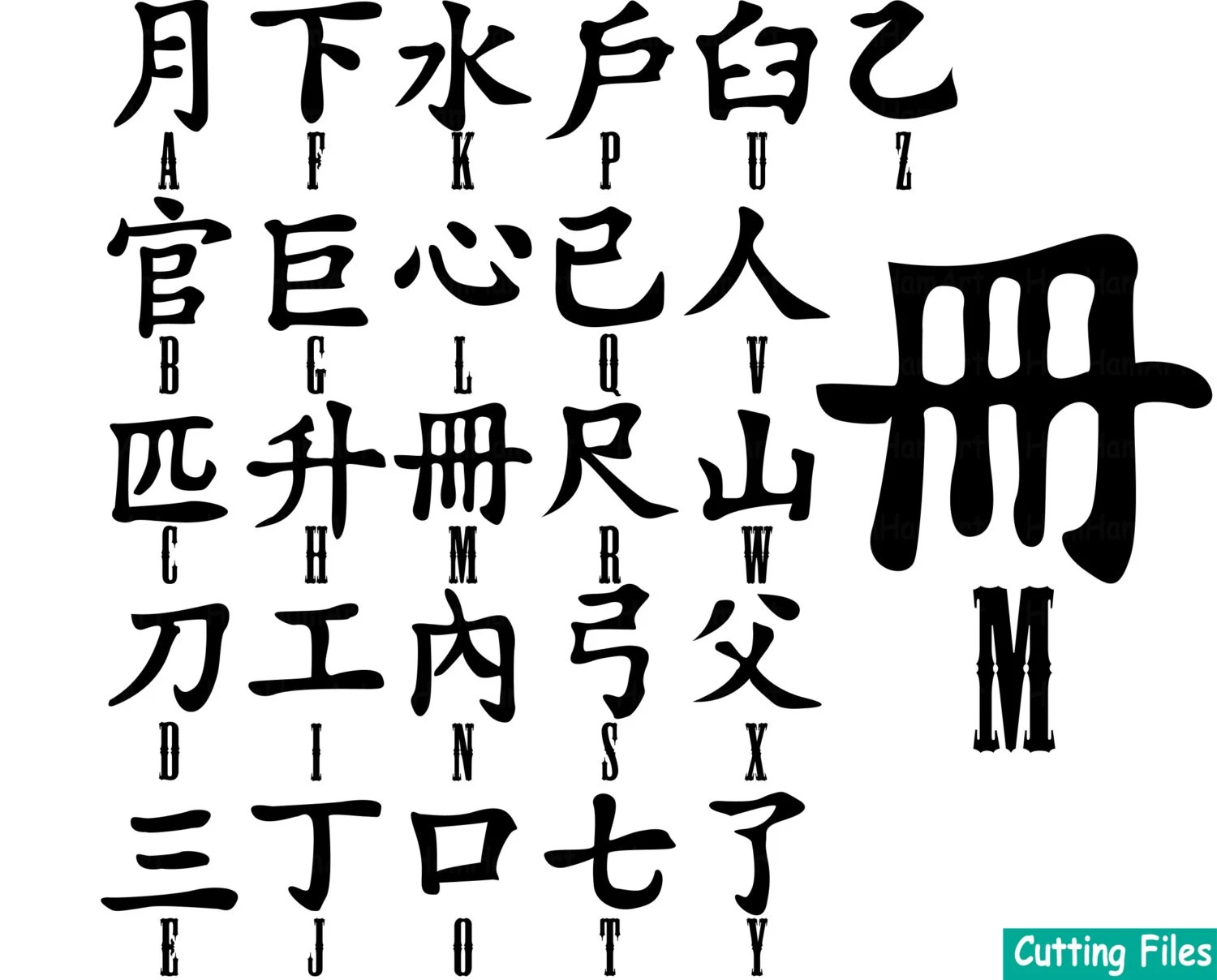 Chinese Alphabet Cutting files SVG DXF EPS signs Character