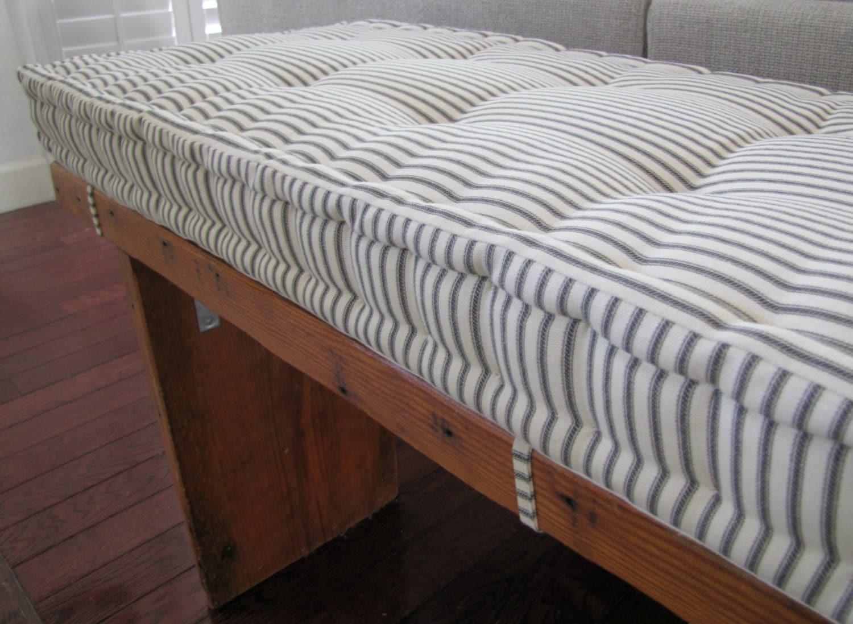 Custom Bench Cushion Black Ticking Stripe Window Seat