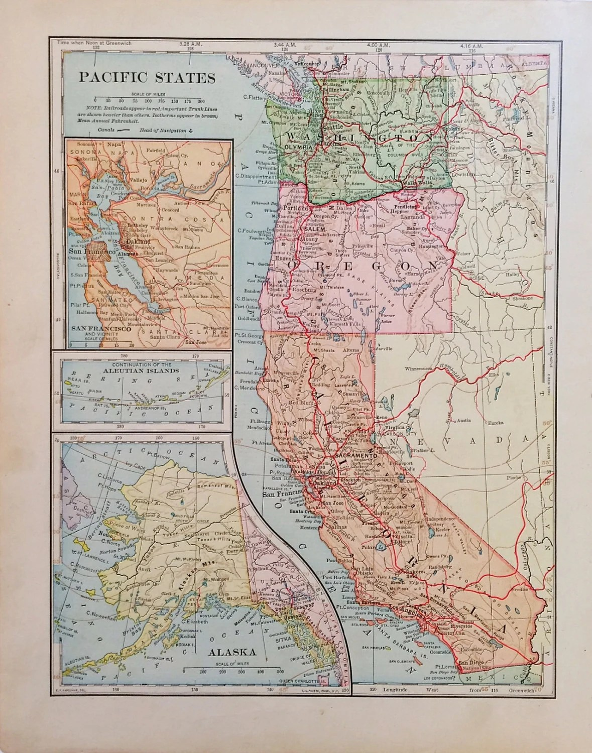 Pacific States Map Map Of West Coast States Antique Map Of