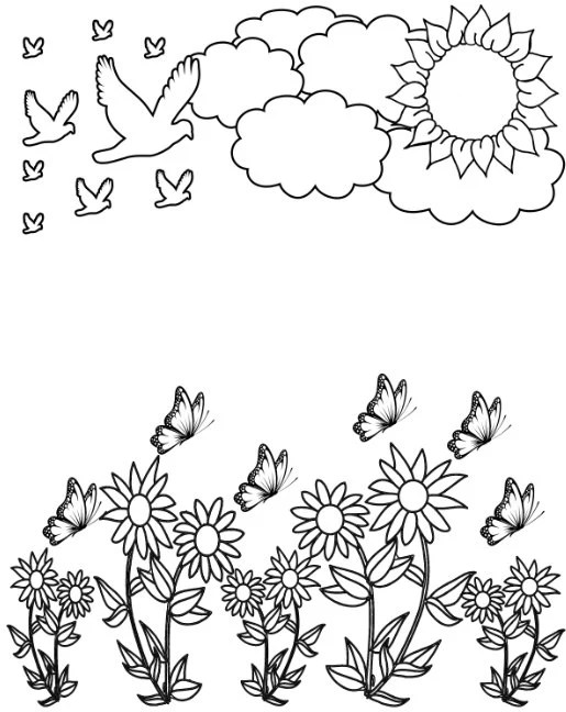Nature Coloring Page, Kid Coloring Activity, Sun Coloring