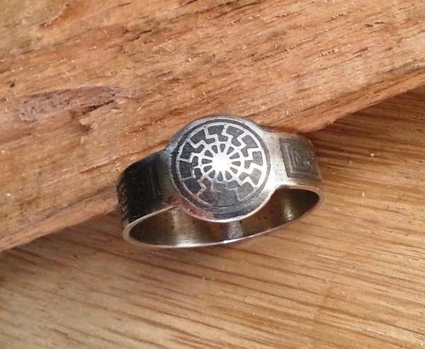 Black Sun Ring. Ring With Occult Symbol. Viking