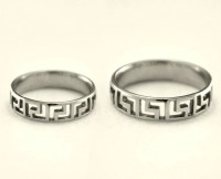 Greek silver wedding bands Matching promise rings Greek
