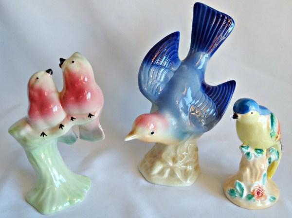 3 Blue Bird Figurines Love Birds Royal Copley