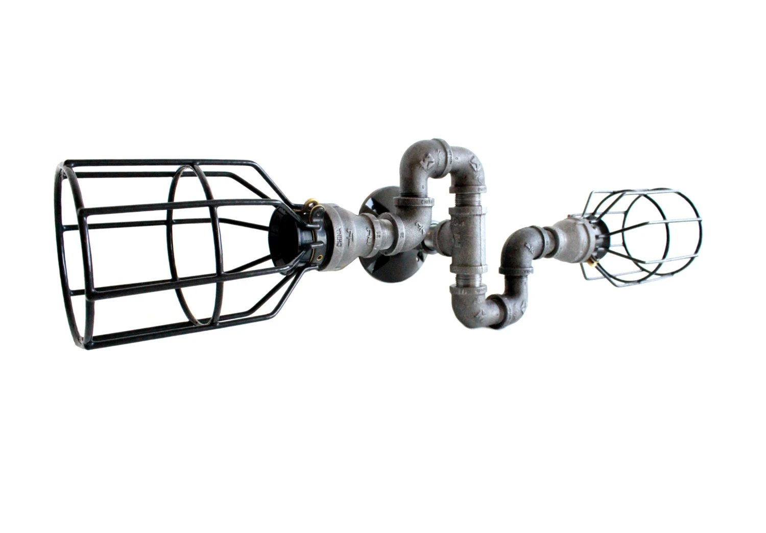 Industrial Lighting W Cages S Bend Wall Art Steampunk