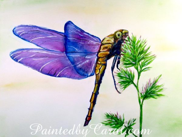 Purple Dragonfly Painting