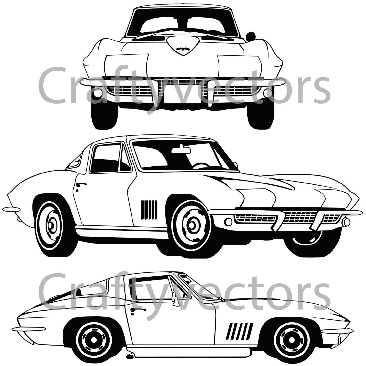 1966 Corvette Car vector file