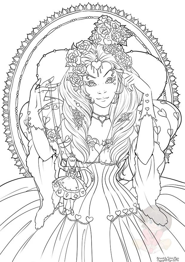 The Red Queen: February's Digital Coloring Page