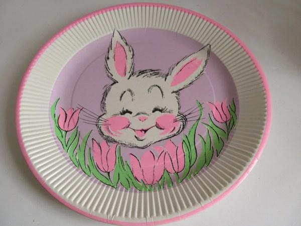 Vintage Easter Paper Plates Bunny Rabbit