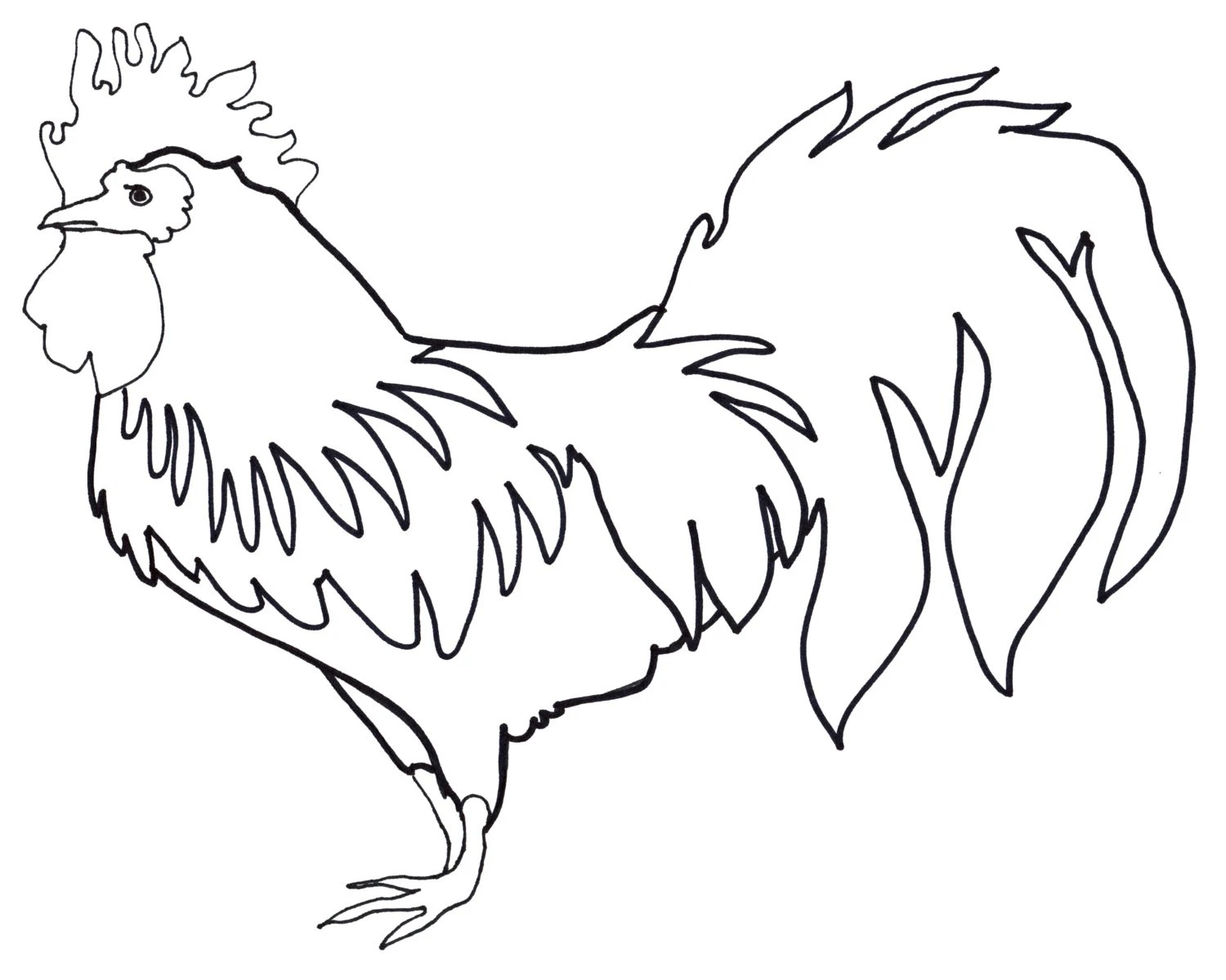 Coloring Page: Rooster Adult and Children 8x10 by
