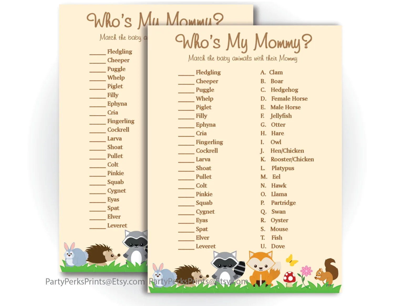 Baby Animals Baby Shower Game Who S My Mommy Woodland