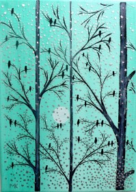 Wall Art Mosaic Collage Turquoise Birds On The Tree Abstract