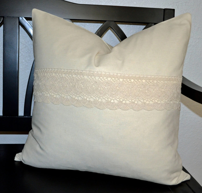 20 x 20 Pillow Cover Ivory Linen Pillow Cover Throw Pillow
