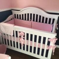 Nautical Baby Girl Crib Bedding SET pink navy anchors