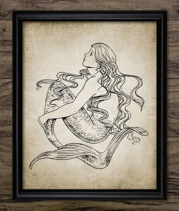 Vintage Mermaid Print Illustration Ocean Marine