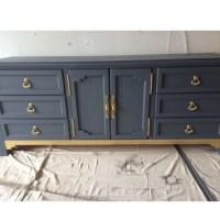 Blue and Gold Dresser Buffet Credenza Bedroom Set Custom
