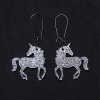 Unicorn Dangle Earrings in Sparkle Silver or Gold Unicorn