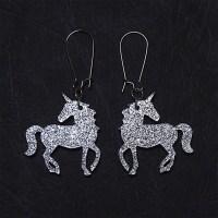 Unicorn Dangle Earrings in Sparkle Silver or Gold Unicorn