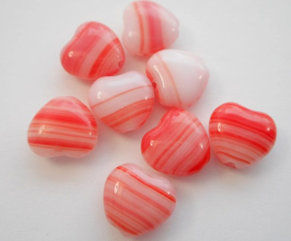 Czech Glass Beads Heart Red And White