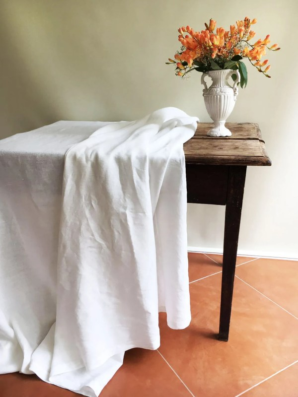 White Linen Table Cloth Pure Tablecloth