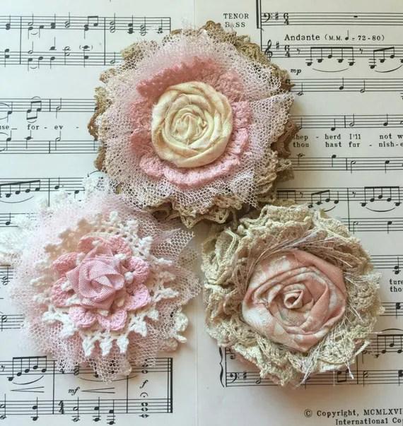 Items similar to Shabby Chic Fabric FlowerWedding decor
