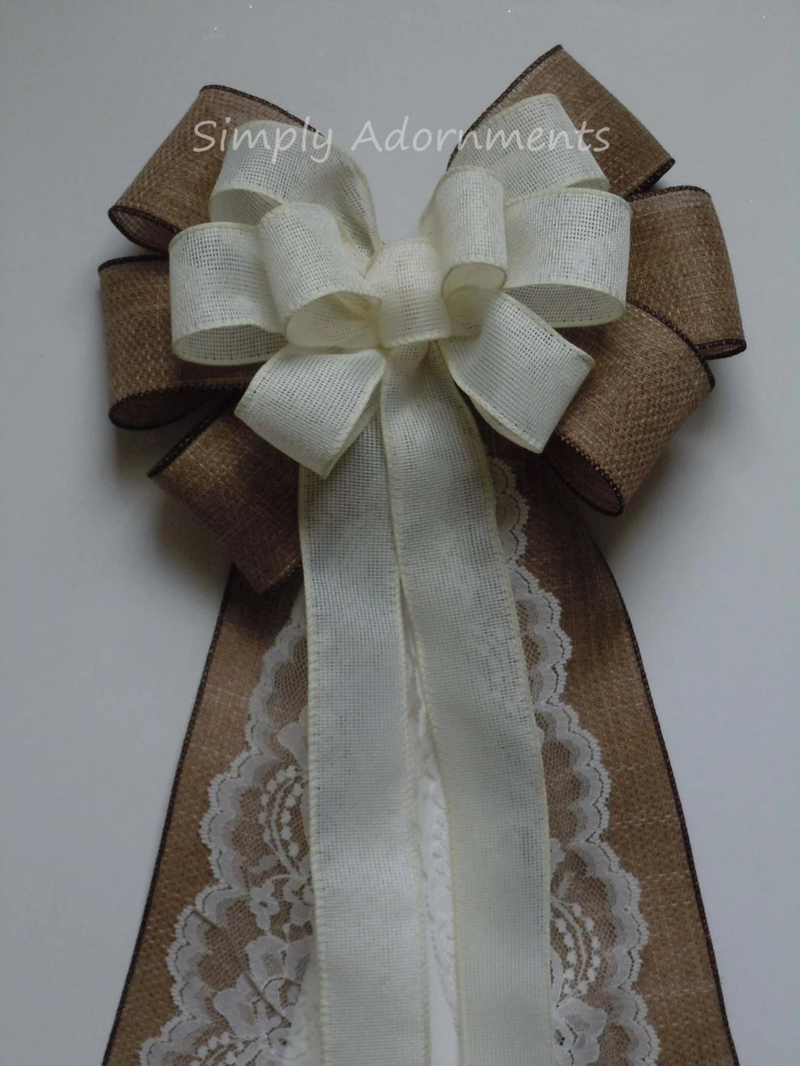 burlap bows for wedding chairs baby high chair cover rustic country aisle bow ivory lace pew