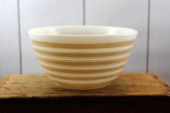 Pyrex Stripe Bowl Rainbow Stripe Mixing Bowl Tan Stripe