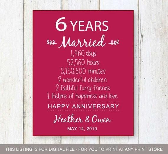 6th Anniversary Gift six years of Wedding Anniversary