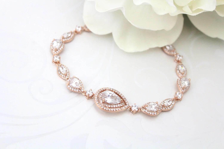 Rose Gold bracelet Crystal Bridal bracelet Wedding jewelry