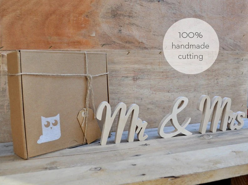 Mr &Mrs Wood Letters Handmade Cutting Hand Cut Wooden Wall