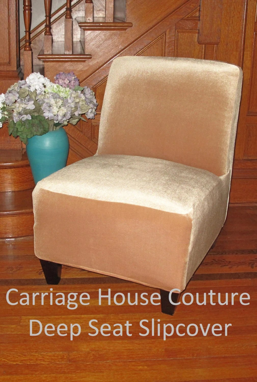 Slipcover Gold Stretch Velvet Chair Cover for Armless Chair