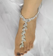 Wedding Barefoot Sandals Leaves Chain Bridal Foot