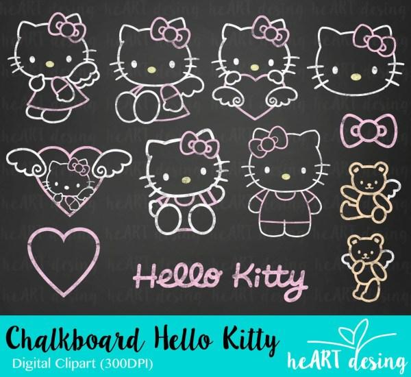 Chalkboard Kitty Clipart Digital Clip Art