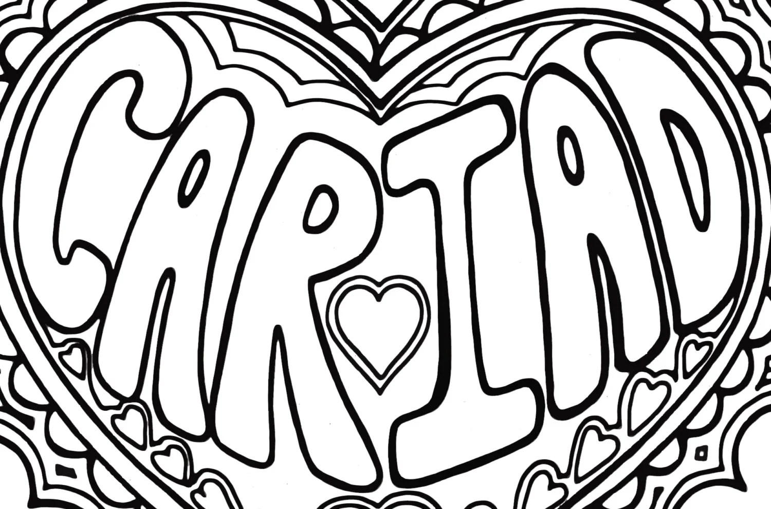 Colouring Page Cariad, Welsh Word, Printable Download
