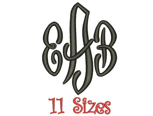 Scroll Monogram Embroidery Font 11 Sizes Machine BX Embroidery