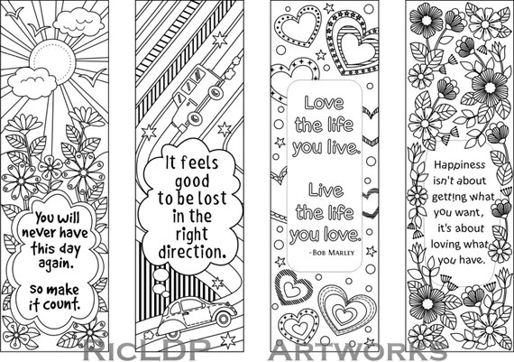 printable colouring bookmarks  quotesricldpartworks