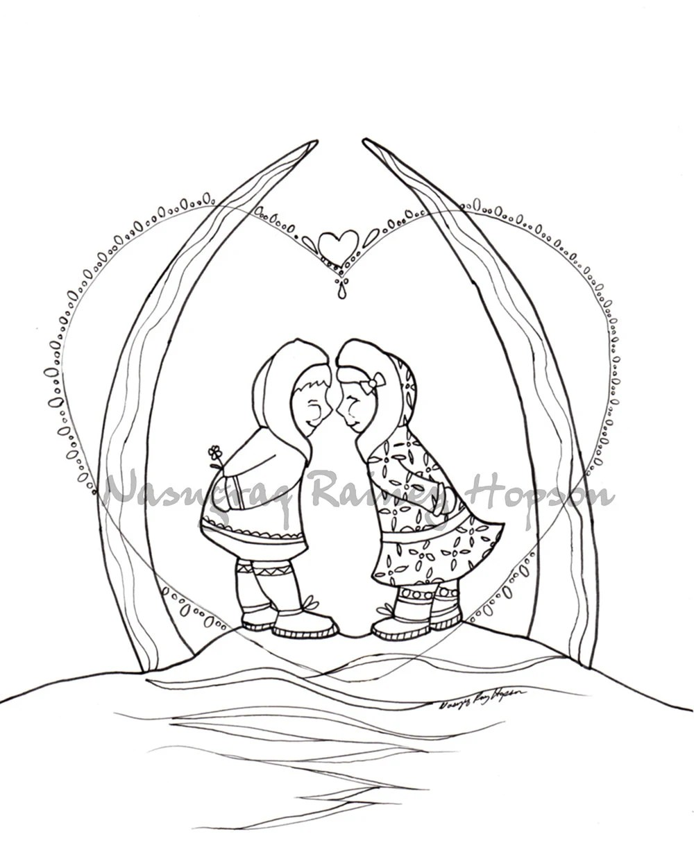Arctic Kiss hand drawn Alaska Native Coloring Page