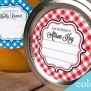 Gingham Custom Kitchen Labels Round Stickers For Canning Jars