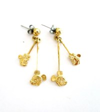 Minnie & Mickey Mouse Earrings Gold Dangling Pierced Vintage