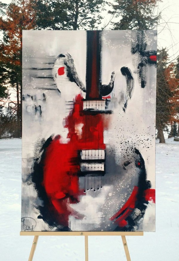 Red Abstract Guitar Painting