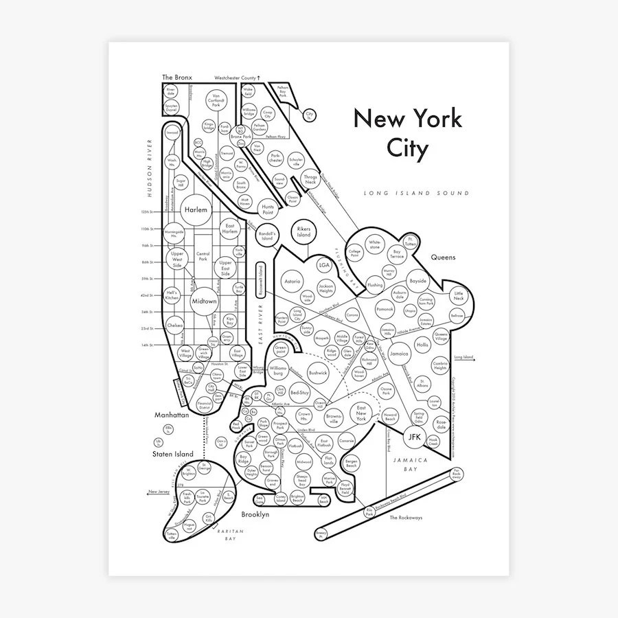 New York City map 8.5x11 Fancy Beautiful Cool